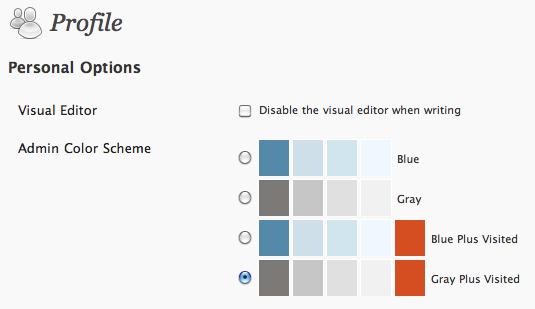 WordPress admin color schemes