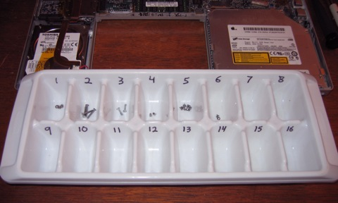 Computer parts in an ice cube tray